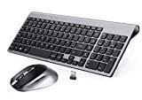 Clavier et souris sans fil espagnol BJL Clavier et souris sans fil QWERTY, compact, ergonomique, avec clavier numérique, souris sans fil PC et ordinateur portable, 2400 dpi pour Windows 10/XP/7/8/Vista Noir et gris