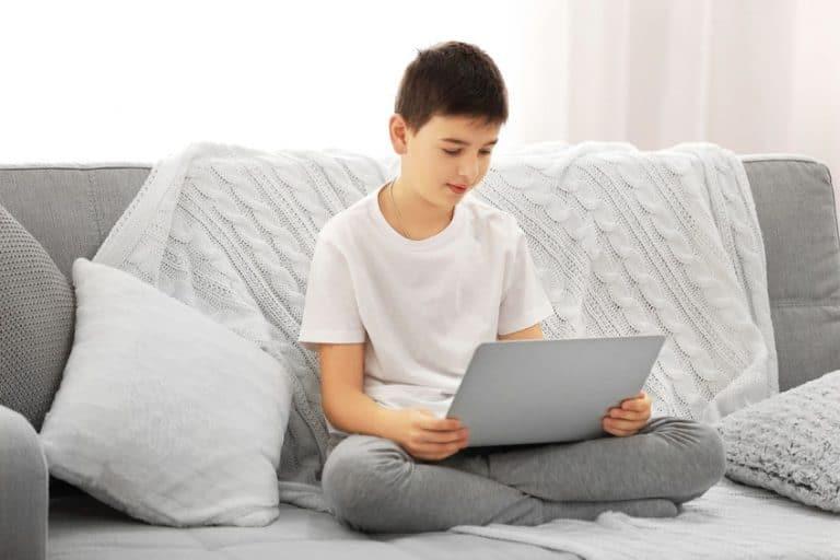 Netbook in room with grey tones
